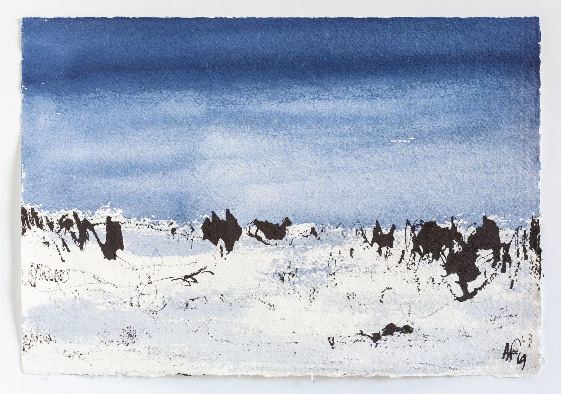 HIVER, encre, 30x20cm, 2020, Roland R.Favre